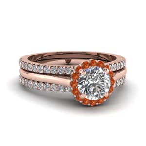 Halo Trio Wedding Ring Set