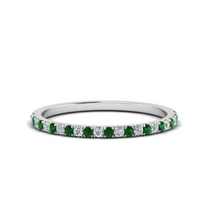 Simple Wedding Band With Emerald