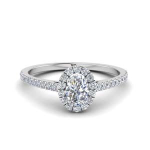 french pave oval shaped diamond halo engagement ring in 14K white gold FD8163OVR NL WG