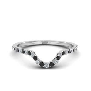 Platinum Black Diamond Curved Band