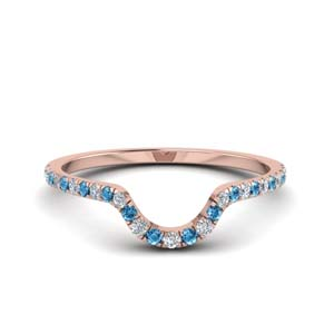 Pave Blue Topaz Rose Gold Band