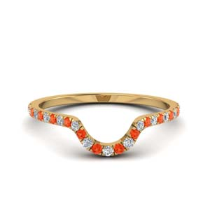 Orange Topaz Curved Wedding Band