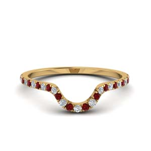 Curved Ruby Wedding Band