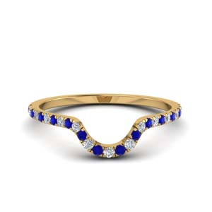 Sapphire Curved Wedding Band