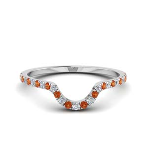 Pave Curved Orange Sapphire Band