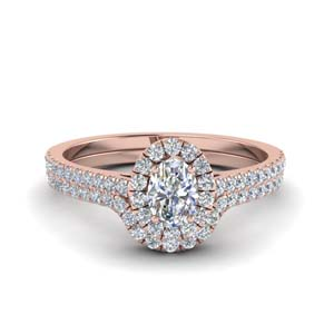 Oval Halo Wedding Ring Set