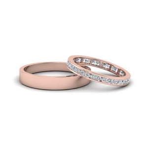 14K Rose Gold Matching Bands For Couples