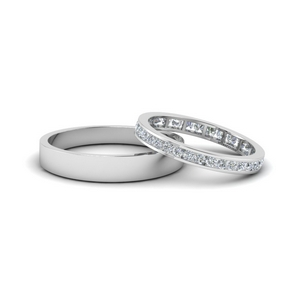 Eternity Ring With Plain Band 18K White Gold