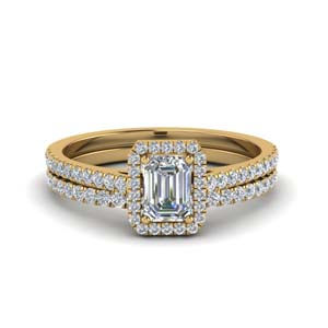 French Pave Halo Diamond Bridal Set