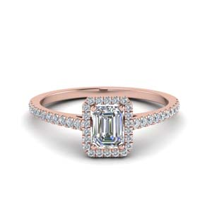 French Pave Emerald Cut Ring