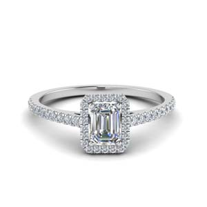 Emerald Cut Halo Diamond Ring