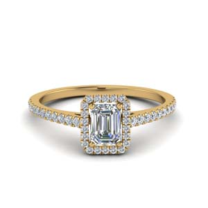 emerald cut french pave halo diamond engagement ring in 14K yellow gold FD8183EMR NL YG