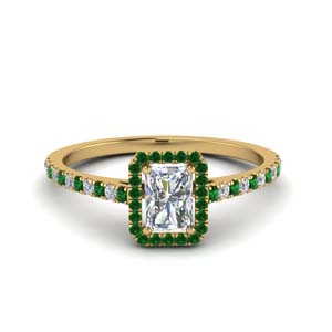 radiant cut french pave halo diamond engagement ring with emerald in 14K yellow gold FD8183RARGEMGR NL YG