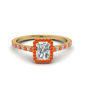 radiant cut french pave halo diamond engagement ring with orange topaz in 14K yellow gold FD8183RARGPOTO NL YG