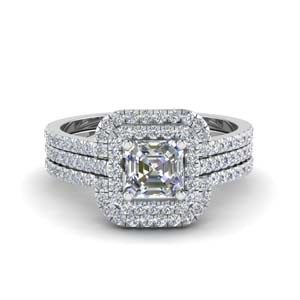 asscher cut square halo diamond engagement ring guard in 14K white gold FD8186TAS NL WG
