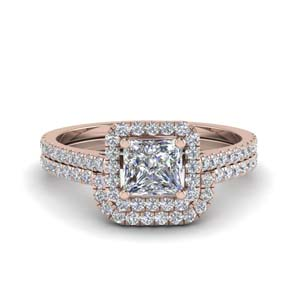 Accent Halo Wedding Ring Set
