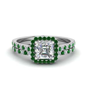 Emerald Ring Set With Asscher Halo