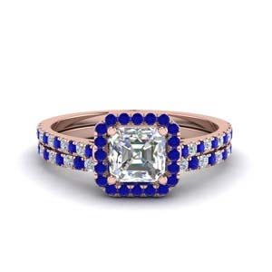 Sapphire French Pave Bridal Set