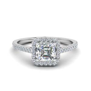 French Pave Halo Engagement Ring