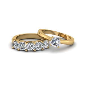 Asscher Cut Gold Wedding Ring Set