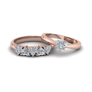 14K Rose Gold Diamond Wedding Ring Set