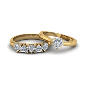 Solitaire Ring With Matching 5 Stone Band