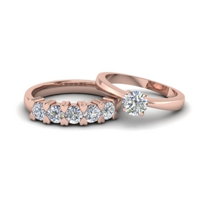 18K Rose Gold Solitaire Ring With 5 Stone Band