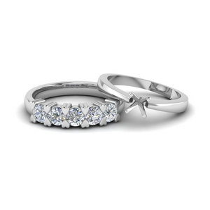 Semi Mount Wedding Ring Set In Platinum