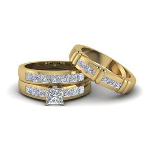 princess cut diamond trio matching ring for him and her in 14K yellow gold FD8222TPR NL YG