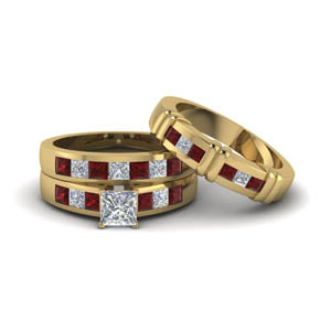 18K Yellow Gold Trio Wedding Set