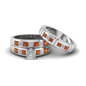Platinum Princess Cut Trio Matching Ring
