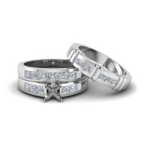 Semi Mount Trio Wedding Ring Set
