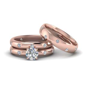 flush set trio matching diamond wedding rings for couples in 14K rose gold FD8223TRO NL RG