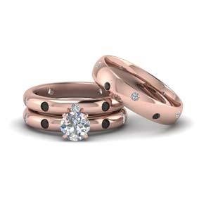 flush set trio matching wedding rings for couples with black diamond in 14K rose gold FD8223TROGBLACK NL RG
