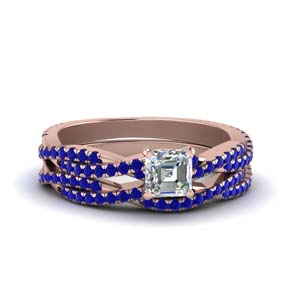 Sapphire Braided Diamond Bridal Set
