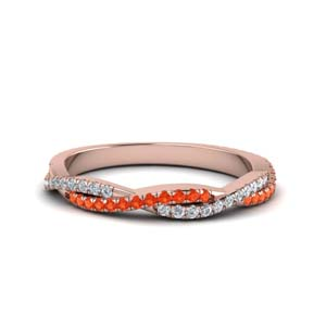 Orange Topaz Vine Diamond Band