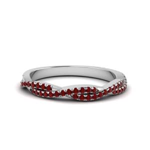 Diamond Band With Ruby