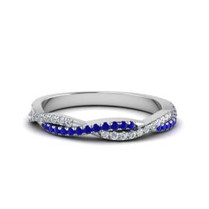 Sapphire Twisted Diamond Band