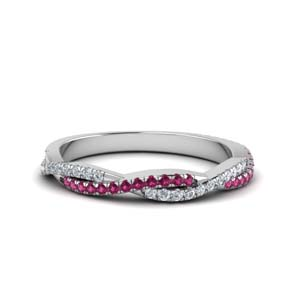 twisted vine diamond wedding band with pink sapphire in FD8233BGSADRPI NL WG