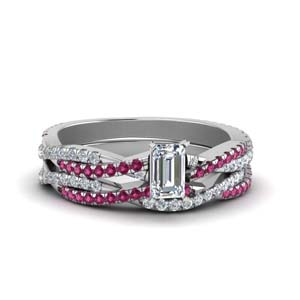 Pink Sapphire Wedding Ring Set