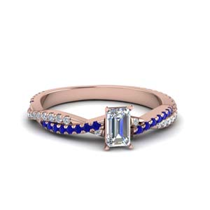 emerald cut twisted vine diamond engagement ring for women with blue sapphire in 14K rose gold FD8233EMRGSABL NL RG