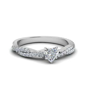 heart shaped twisted vine diamond engagement ring for women in 18K white gold FD8233HTR NL WG