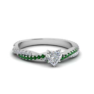heart shaped twisted vine diamond engagement ring for women with emerald in 18K white gold FD8233HTRGEMGR NL WG