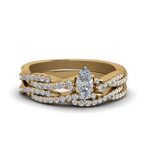 Vine Diamond Twisted Ring Set