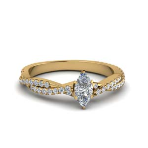U Prong Diamond Ring 14K Yellow Gold