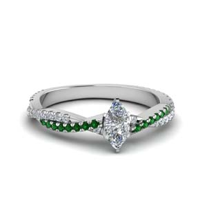 marquise cut twisted vine diamond engagement ring for women with emerald in 18K white gold FD8233MQRGEMGR NL WG