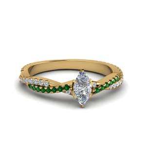 marquise cut twisted vine diamond engagement ring for women with emerald in 18K yellow gold FD8233MQRGEMGR NL YG