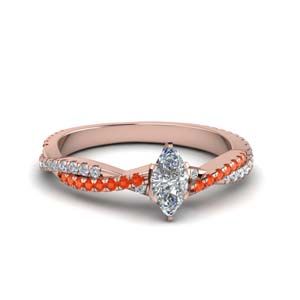 marquise cut twisted vine diamond engagement ring for women with poppy topaz in 14K rose gold FD8233MQRGPOTO NL RG