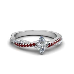 marquise cut twisted vine diamond engagement ring for women with ruby in 18K white gold FD8233MQRGRUDR NL WG