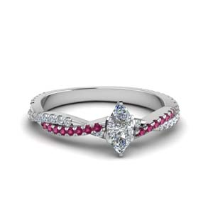 marquise cut twisted vine diamond engagement ring for women with pink sapphire in 18K white gold FD8233MQRGSADRPI NL WG